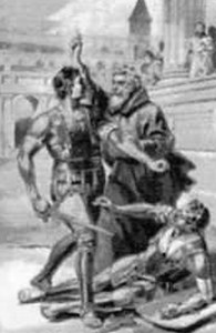 illustration of Saint Telemachus objecting to the gladitorial combat