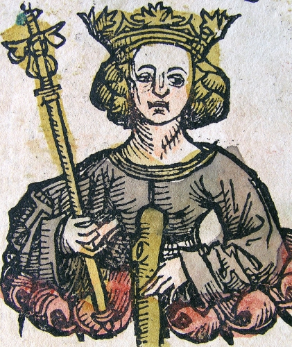 detail of an illustration of Blessed Theodolinda the Queen from the Nuremberg Chronical, by Hartmann Schedel, c.1500; swiped from Wikimedia Commons