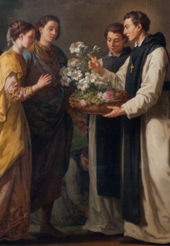 detail of a painting of Saint Theobald offering an eleven branched lilium to Saint Louis and Marguerite of Provence; 1776 by Joseph-Marie Vien; Palace of Versailles, France; photographed by Fanny Schertzer; swiped from Wikimedia Commons