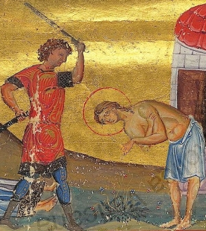 martyrdom of Saint Tiburtius of Rome as depicting in the Menalogian of Basil