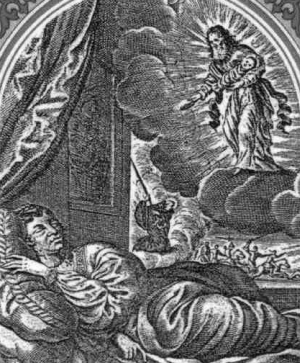detail of an antique holy card of Saint Ursmaro of Lobbes