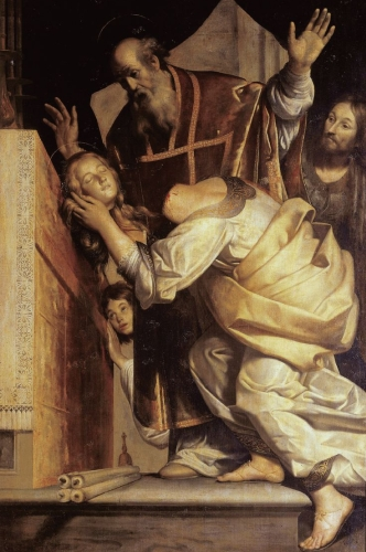 detail from the painting 'Miracolo di santa Valeria dinanzi a san Marziale', c.1630 by Giovanni Antonio Galli; Saint Peter's Basilica, Vatican City, Rome, Italy; swiped from Wikimedia Commons
