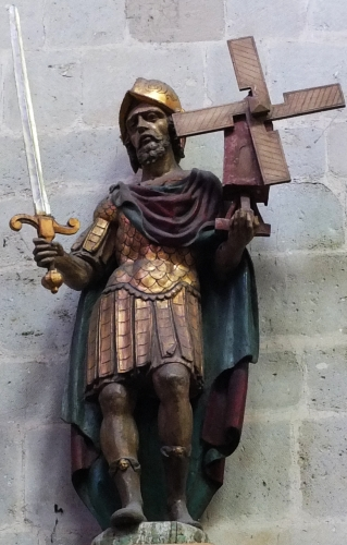 statue of Saint Victor of Marseilles, date and artist unknown; Church of Our Lady across the river Dijle, Mechelen, Flanders Belgium; swiped from Wikimedia Commons