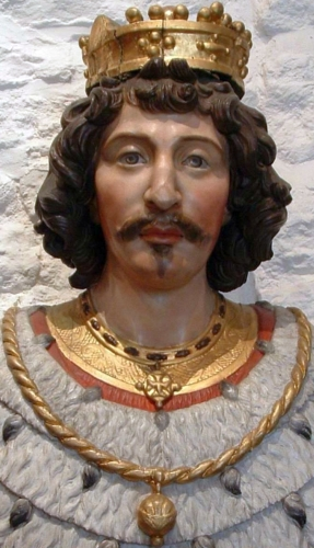 detail of an 18th century bust of Saint Vincent Madelgarus, artist unknown; Collégiale Saint-Vincent, Soignies, Belgium; photographed by Guy Debognies; swiped from WIkimedia Commons