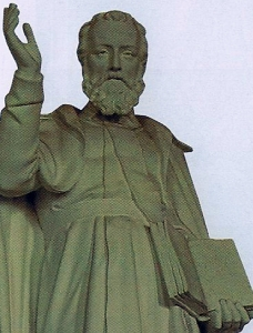 detail statue of Saint Mathurin at the church of Tessy-sur-Vire, France; sculptor unknown; photo taken on 18 January 2008 by Theoliane; swiped from Wikimedia Commons