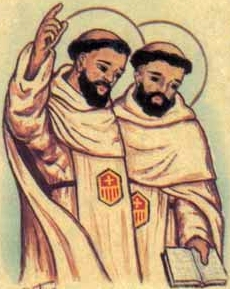 detail of an antique Italian holy card of Saints James and Peter of Africa, by Bertoni, date unknown; swiped from Santi e Beati