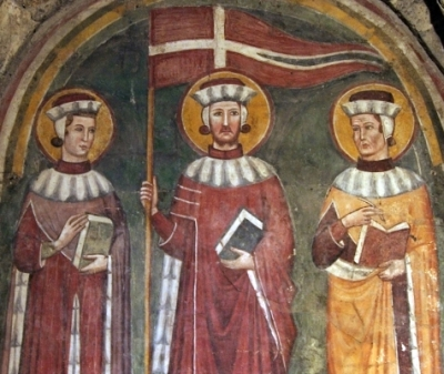 14th century fresco of Saints Secundian, Marcellian and Verian