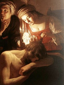 detail of 'Samson and Delilah' by Gerrit van Honthorst, c.1615, Cleveland Museum of Art, Cleveland, Ohio