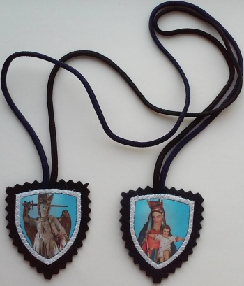 the Scapular of Saint Michael the Archangel, the Michaelite Fathers version; photographed on 29 September 2017 by Michael Tav; swiped from Wikimedia Commons