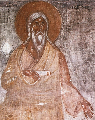 detail of a frescoe painting of Seth the Patriarch; 1378, artist unknown; Orthodox Church of the Transfiguration, Novgorod, Russia; swiped from Wikimedia Commons; cilck for source image