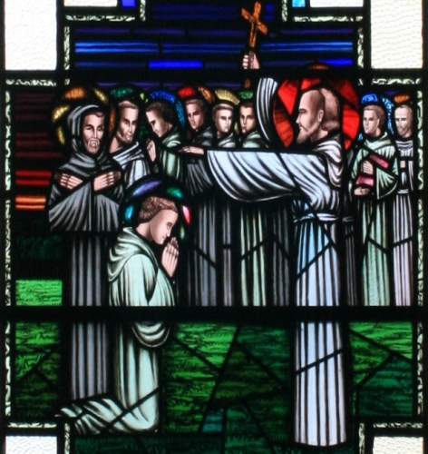 the Twelve Apostles of Ireland receiving the blessing of Saint Finian