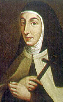 anonymous 17th century painting of Venerable Ann Lobera, convent of San José de Ávila; swiped from Wikimedia Commons