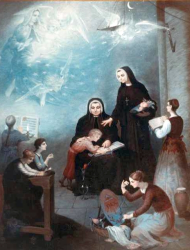 painting of Venerable Giustina and Venerable Maria Schiapparoli, date and artist unknown