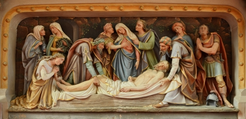 19th-century entombment image on an altar frontal, artist unknown; church of Château-Garnier, Vienne, France; photographed on 14 September 2014 by JLPC; swiped from Wikimedia Commons