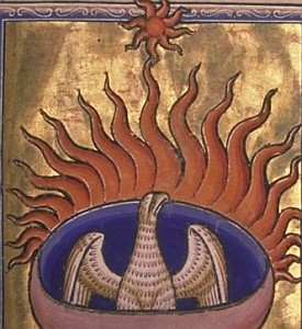 illustration of a phoenix from the Aberdeen Bestiary; swiped from Wikimedia Commons