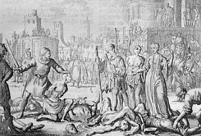 Martyrdom of Saint Felicitas of Rome and the Seven Holy Brothers, by Jan Luyken, 17th century; swiped from Wikipedia
