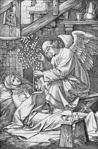1890 engraving of Saint Lydwina of Schiedam