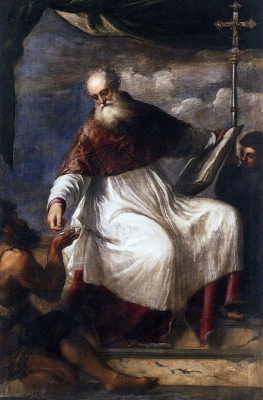 detail of a painting of Saint John the Almoner; by Titian, c.1545; San Giovanni Elemosinario, Venice, Italy; swiped from Wikimedia Commons