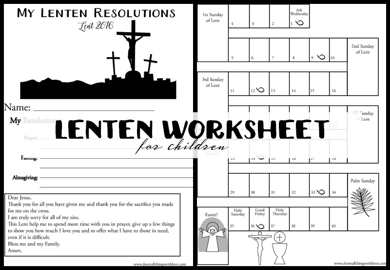 Lenten Worksheet For Children Catholic Sprouts