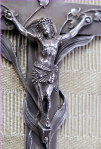 crucifix with lilies