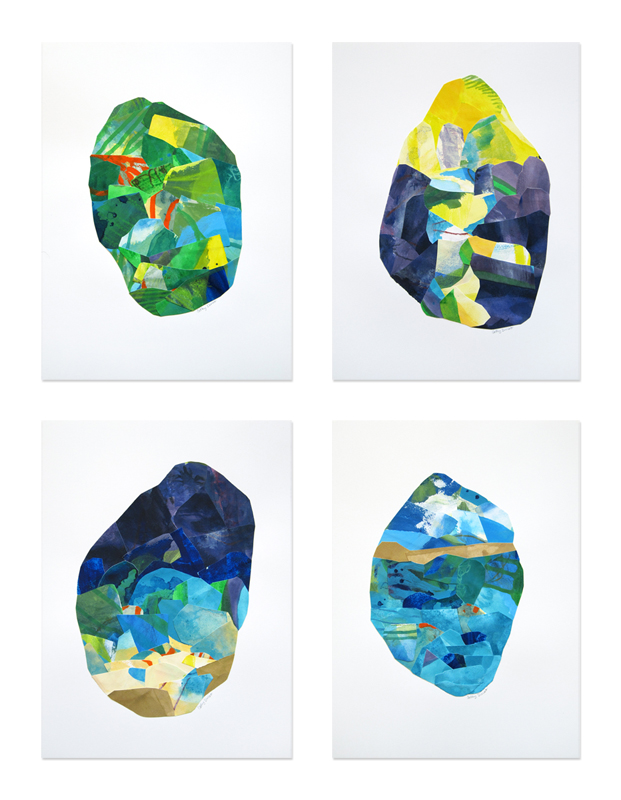 Florida Stone 1-4, collages by Cathy Durso