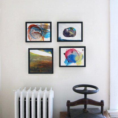 Four works framed