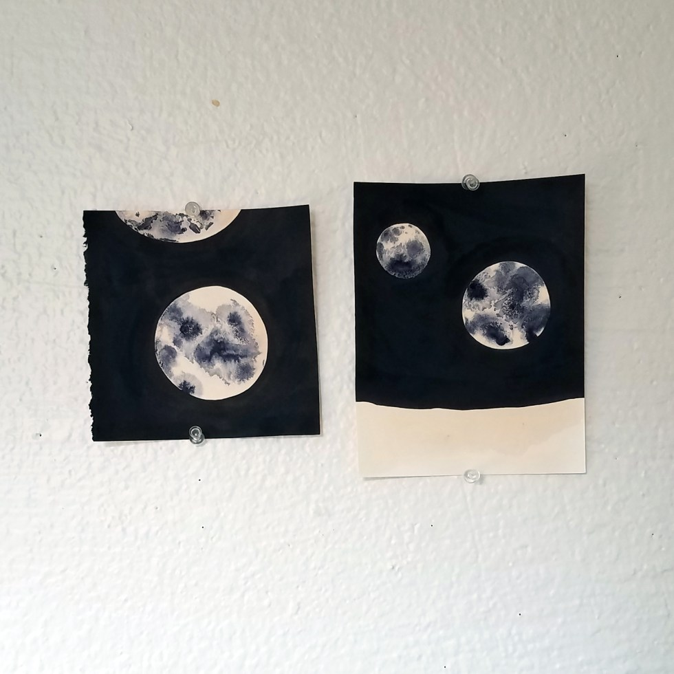 onion skin ink and India ink moon drawings by Cathy Durso
