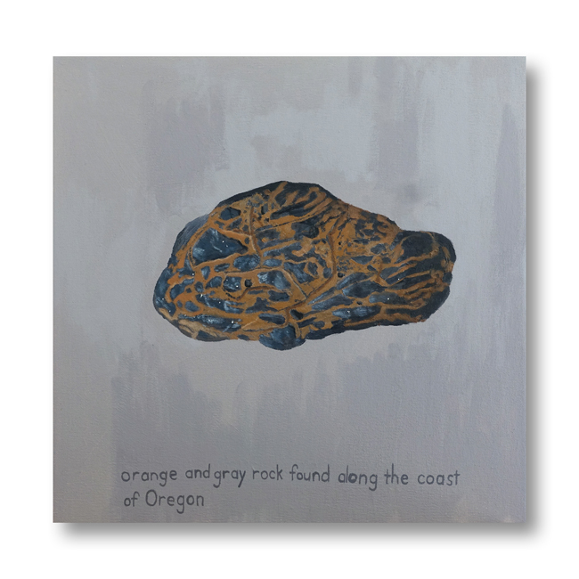 Orange and Gray Rock - painting by Cathy Durso