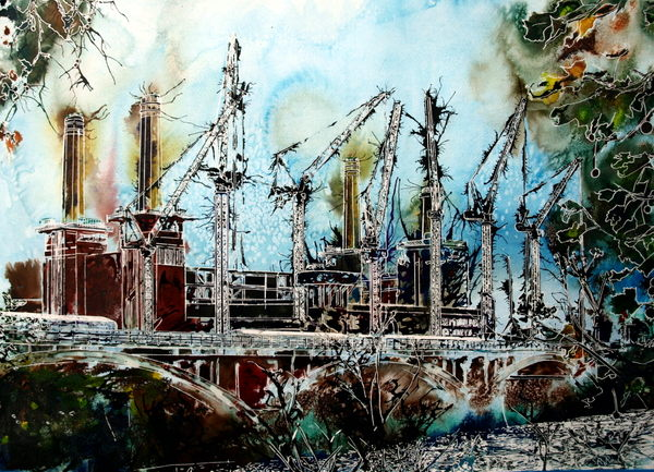 Battersea Power station painting image of the renovation of Battersea Reborn - ©2015-Cathy Read - Watercolour and Acrylic- 55x75cm - £1237