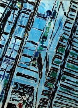 ©2011- Cathy Read-Spot the Gormley - 38cn x 28cm- Mixed media