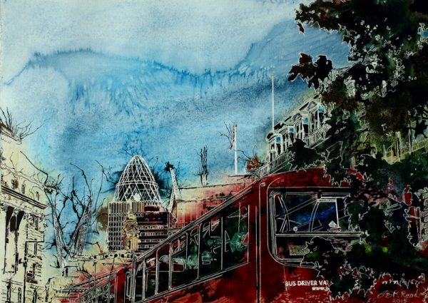 Picture of a London Bus painting with the Gherkin and London Skyline behine=d.Bus Queue - ©2015 - Cathy Read - Watercolour and Acrylic - 55x75 cm - £1237