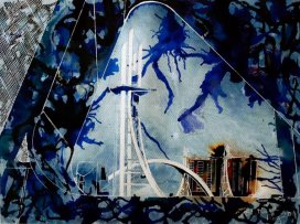 ©2011 - Cathy Read - The Lowry Bridge - 28 x 38cm - Mixed Media