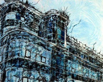 Painting based on the Daily Express Building, Great Ancoats Street, Manchester©2012 - Cathy Read - Watercolour and acrylic ink - 40x50cm - £570