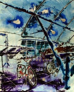 Painting of bike racks in Milton Keynes - Cycle Social -©2012 -Watercolour and acrylic ink - 50 x 40cm - £577