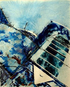Abstracted painting looking upwards in the Theatre district of Milton Keynes. Appropriate given the upward nature of dreams of aspiring thespians. -Land of Dreams - Cathy Read -©2012 -Watercolour and acrylic ink - 50 x 40cm - £577