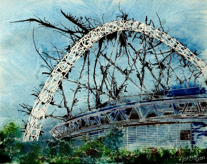 Painting of Wembley Stadium as seen from the railway Designer Stadium - Cathy Read - ©2012 -Watercolour and Acrylic ink- 40x50cm - £577