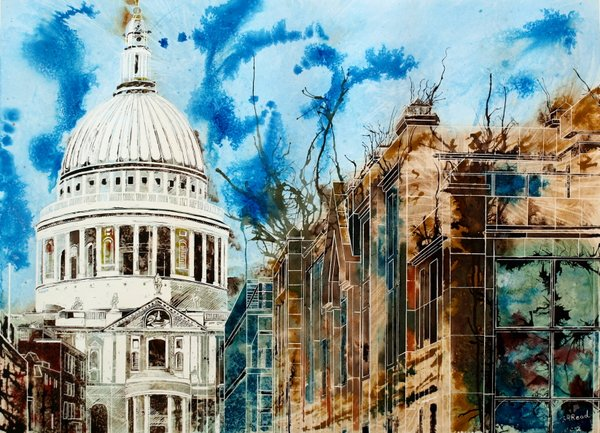 London architecture ©2012 - Cathy Read - The Life of London Churches- Mixed Media- 56x76cm