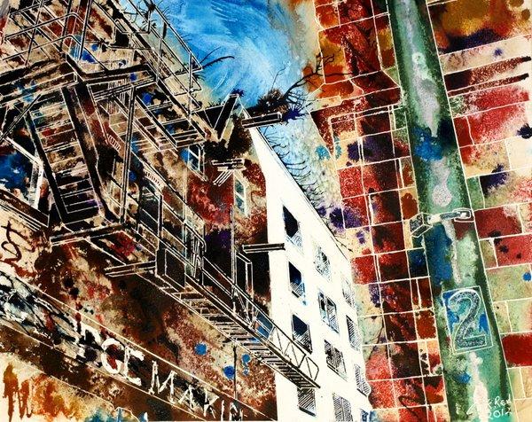 ©2012-Cathy-Read-Fire-Escapes-Mixed-Media-40x50cm