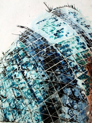 Painting of the Gherkin in London - Touching the sky - ©2012 - Cathy Read -Mixed media-75x55cm