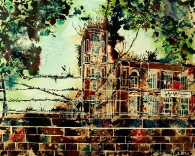 ©2013 - Cathy Read - Swan Mill- Mixed media - 40 x 50 cm SOLD