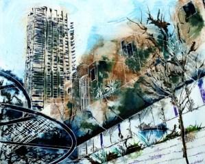 ©2013 - Cathy Read - Barbican - Mixed media - 40 x 50 cm