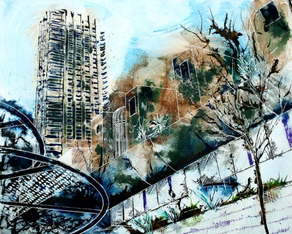 ©2013 - Cathy Read - Barbican - Mixed media - 40 x 50 cm