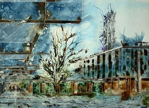 ©2013 - Cathy Read - St Catherine's Main Quad - Watercolour and Acrylic- 55 x 75 cm