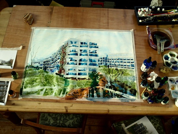 ©2013 - Cathy Read - Wolfson College Work in Progress- Watercolour and Acrylic- 75 x 55 cm