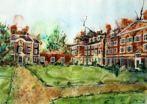 Painting of Lady Margaret Hall, Oxford - Toynbee and Deneke West ©2013 - Cathy Read - Watercolour and Acrylic - 55x75cm