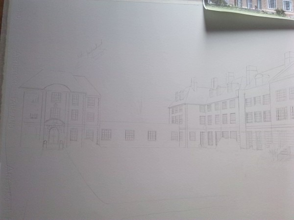 ©2013 - Cathy Read - Lady Margaret Hall work in Progress - Pencil - 55 x 75 cm