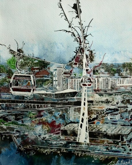 ©2013 - Cathy Read - Flying High Over London- Watercolour and Acrylic- 38x28 cm - SOLD