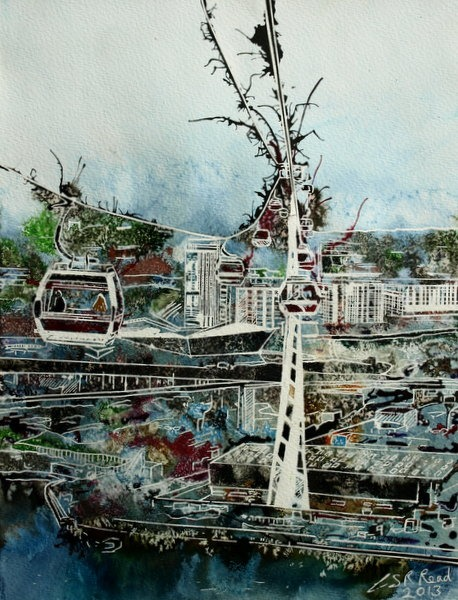 ©2013 - Cathy Read - Flying High Over London- Watercolour and Acrylic- 38x28 cm