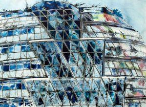 ©2013 - Cathy Read - City Hall, London - Watercolour and Acrylic - 55 x 75 cm