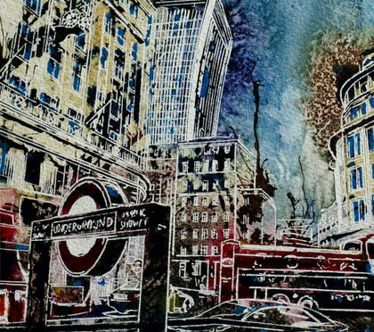 ©2014-Cathy-Read-London-Calling-Watercolour-and-Acrylic-17.5x25-cm